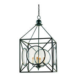 Kathy Kuo Home - Beckmore Geometric Iron Seeded Glass 4 Light Lantern Pendant - This delightful 4 light wrought iron lantern comes with seeded glass panels and a geometric play on pattern that give it a special appeal.  The hand finishing process used on this chandelier lends an air of depth and richness not achieved by less time-consuming methods.