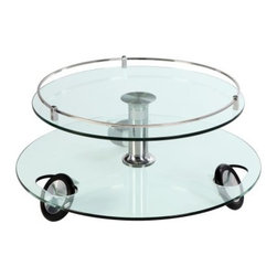 Chintaly Zuma Castered Cocktail Table - Sleek design and functionality combine in this Chintaly Zuma Castered Cocktail Table. Uniquely constructed, it features smooth rolling casters and boasts a lustrous chrome finish. This cocktail table features a minimalist glass top that embodies contemporary design. It's the perfect addition to any modern living room.About Chintaly ImportsBased in Farmingdale, New York, Chintaly Imports has been supplying the furniture industry with quality products since 1997. From its humble beginning with a small assortment of casual dining tables and chairs, Chintaly Imports has grown to become a full-range supplier of curios, computer desks, accent pieces, occasional table, barstools, pub sets, upholstery groups and bedroom sets. This assortment of products includes many high-styled contemporary and traditionally-styled items. Chintaly Imports takes pride in the fact that many of its products offer the innovative look, style, and quality which are offered with other suppliers at much higher prices. Currently, Chintaly Imports products appeal to a broad customer base which encompasses many single store operations along with numerous top 100 dealers. Chintaly Imports showrooms are located in High Point, North Carolina and Las Vegas, Nevada.