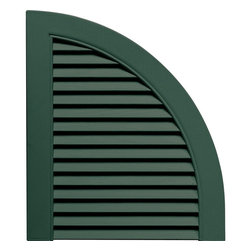 """Builders Edge - Louvered Design Quarter Round Tops in Forest - Provides distinctive styling for standard shutters. Constructed with color molded-through vinyl so they will not scratch, flake, or fade. Durable, maintenance-free U.V. stabilized, deep wood grain texture. Made in the USA. For use with Builders Edge 15"""" Standard Louver Shutters only. 14.5 in. W x 1 in. D x 17 in. H (1.69 lbs.)"""