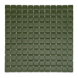 "GlassTileStore - Loft Army 1 x 1 Glass Tiles - Loft Army 1 x 1 Glass Tile             Add a bursts of color to any room with this beautiful glass tile. This burst of color will give your kitchen, bathroom or any decorated room a fresh and bold look.          Chip Size: 1x1   Color: Dark Olive Green    Material: Glass   Finish: Polished    Sold by the Sheet - each sheet measures 12"" x 12"" (1 sq. ft.)   Thickness: 6mm            - Glass Tile -"