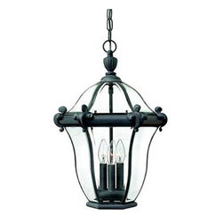 Hinkley - Hinkley 2442MB San Clemente Outdoor Pendant Lantern 2442MB - Lighting is the final touch in decorating your surroundings. With Hinkley Lighting, you'll find the perfect reflection of you. You are looking at a traditional classic hanger outdoor from the san clemente family.ADA Compliant: No Bulb Type: Candelabra Certification: C-ETL-US Damp Chain: 60 Collection: San Clemente Energy Star Compliant: No Finish: Museum Black Glass: Bound Glass, Bent and Beveled Height: 22 Leadwire: 72 Material: Solid Brass and Aluminum Number of lights: 3 Socket 1 Base: CANDLE Socket 1 Max Wattage: 40 Title 24 Compliant: No Type: Outdoor Pendant Voltage: 120 Wattage: 40 Weight: 10 Width: 14