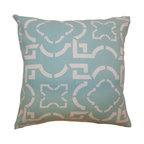 """The Pillow Collection - Akure Geometric Pillow Robin 18"""" x 18"""" - Refreshing and fun, this geometric accent pillow brings an elegant touch to your living room or bedroom. This throw pillow features an unconventional print pattern set against a Robin Blue hue. Decorate this square pillow on top of your sofa, bed, sectionals and more. This chic decor pillow looks great when paired with plain and pattern pillows. Perfect for various settings and style, this 18"""" pillow adds a modern touch to your interiors. Hidden zipper closure for easy cover removal.  Knife edge finish on all four sides.  Reversible pillow with the same fabric on the back side.  Spot cleaning suggested."""