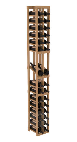 2 Column Display Row Cellar Kit in Pine with Oak Stain + Satin Finish - Make your best vintage the focal point of your wine cellar. High-reveal display rows create a more intimate setting for avid collectors' wine cellars. Our wine cellar kits are constructed to industry-leading standards. You'll be satisfied. We guarantee it.