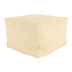 Majestic Home - Outdoor Citrus Towers Large Ottoman - Add a little character to your living room or patio with the Majestic Home Goods Large Ottoman. This Ottoman is the perfect accessory to add comfort and style to any room while functioning as a decorative foot stool, pouf, or coffee table. Woven from outdoor treated polyester, these ottomans have up to 1000 hours of U.V. protection and are able to withstand all of natures elements. The beanbag inserts are eco-friendly by using up to 50% recycled polystyrene beads, and the removable zippered slipcovers are conveniently machine-washable.