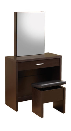 Adarn Inc. - Glossy Make up Table Vanity Set Hidden Storage Mirror Lift-Top Stool, Cappuccino - This seemingly simple vanity set brings a whole lot of fashion and function to your bedroom or changing area. Hidden storage in the mirror includes shelves and hooks, while a partitioned drawer in the front of the piece offers small compartments for ultimate organization. The coordinating stool offers even more hidden storage underneath its lift-top seat. With sleek minimalistic construction and a glossy cappuccino / white finish, this attractive vanity set offers an instant update for your home furnishings.