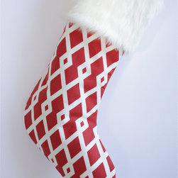 Red & White Modern Fretwork Christmas Stocking by Switch Studio - A cool geometric print gives this traditional Christmas stocking a fun and modern twist.