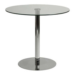 Eurostyle - Eurostyle Ava Round Clear Glass Bistro Table w/ Chrome Base - Round Clear Glass Bistro Table w/ Chrome Base belongs to Ava Collection by Eurostyle A highly polished, chromed steel base and pedestal are topped by tempered clear glass. The Ava table presents a clean, modern impression. Easy to care for. Easy to love. Table Base (1), Table Top (1)