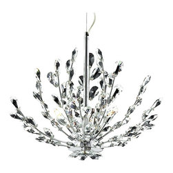 "Eurofase - Eurofase Filigree 21 "" Wide Chrome Chandelier - Floral-inspired sparkle is in full bloom in this 3-light crystal chandelier. Sleek chrome finish over the up-curved arms and center rod glistens through the clear crystal accents that echo the organic look of trees branches in nature. Includes a ceiling canopy and 72"" chain for hanging. An elegant modern design from Eurofase. Floral-inspired glimmering 3-light chandelier. Sleek chrome finish. Clear crystal accents. Metal construction frame. Three max 40 watt G19 bulbs (not included). 21"" wide. 16 1/4"" high. Includes canopy and wire. Hang weight 12 lbs.  Floral-inspired glimmering 3-light chandelier.  Sleek chrome finish.  Clear crystal accents.  Metal construction frame.  Three max 40 watt G19 bulbs (not included).  21"" wide.  16 1/4"" high.  Includes canopy and wire.  Hang weight 12 lbs."