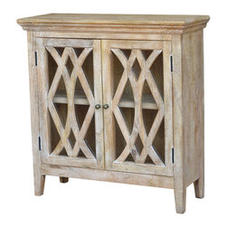 Marco Polo Imports - Clermont Small Sideboard - This elegant, old-world sideboard is hand-crafted from eco-friendly Mango wood. Featuring glass fronts and brass pulls. The beautiful woodwork overlay on the cabinetry gives each piece a refined sophistication.