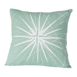 Cricket Radio - Montauk Compass Rose Pillow, Aqua/White - Guide your room in the right style direction. This handmade 20-inch-square pillow features a compass pattern printed in ecofriendly inks on Italian linen, a removable down insert and comes in your choice of colors to easily coordinate with your space.