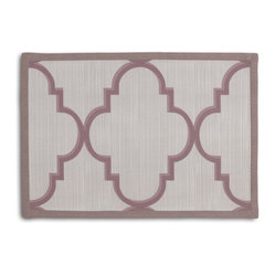 Lavender Large Morrocan Trellis Tailored Placemat Set - Class up your table's act with a set of Tailored Placemats finished with a contemporary contrast border. So pretty you'll want to leave them out well beyond dinner time! We love it in this large purple quatrefoil trellis on striated oatmeal gray sateen. a serene & elegant addition to classic decor
