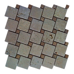 "Tuscany Classic Travertine Interlocking Mosaic Blend - Tuscany Classic Interlocking 12x12 Mosaic Blend. Mix of 5/8"" and 2"" Tumbled Travertine.   Also known as Castle"