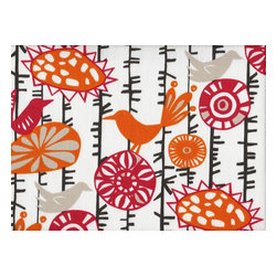 Close to Custom Linens - King Shams Tailored Pair Menagerie - Menagerie is a delightful contemporary mix of flowers and birds in grey, orange and pink. The background is natural cotton. The shams are 20 x 36 with a 2 1/2 inch tailored flange. The face and the flange are lined with a layer of poly for extra body. Self-cording trim adds the finishing touch.