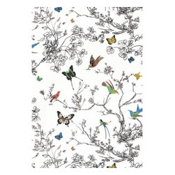 Schumacher - Birds and Butterflies Fabric - Imagine songbirds singing outside your bedroom window, and then bring them inside with this colorful cotton chintz fabric awash with birds and butterflies flittering amidst tree branches. Perfect for curtains or drapes. There is a two-yard minimum order.