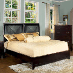 Hokku Designs - Willow Panel Bed - Rest easy with Willo, our great looking, simple, no frills upholstered bed. Comfortable upholstered-style headboard with solid wood frame makes for a nice space to clean up against. Features: -Material: Leatherette, solid wood and wood Veneer.-Contemporary style.-Headboard panel has extra padded cushioning.-Low footboard and slim legs with modern or antique furnishings.-Bed Maximum Weight Capacity: 500 pounds.-Comes with frame-and-panel construction for structural integrity.-Distressed: No.-Collection: Willow.Dimensions: -Overall Product Weight: 150 lbs.