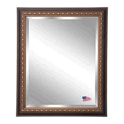 Rayne Mirrors - American Made Traditional Cameo Bronze Beveled Wall Mirror - This classic beveled wall mirror is handcrafted with shades of aged bronze and brown.  Its wooden frame features unique carved designs and cameo detailing making this a striking  and elegant traditional mirror.  Rayne's American Made standard of quality includes; metal reinforced frame corner  support, both vertical and horizontal hanging hardware installed and a manufacturers warranty.