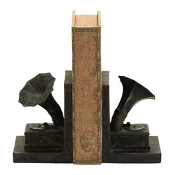 Benzara - Old Look Gramophone Themed Book End Set - A useful and creative set of book ends, each in the unique theme of an antique Gramophone. Each Gramophone book end is made with great detail, from the main base all the way up the sound horn. Use them perfectly on the bookshelf or on the fireplace mantle. But it's also useful holding up books in the home office or on the end table.