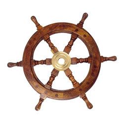 "Handcrafted Model Ships - Wood and Brass Ship Wheel 12"" Old Ship Wheel Vintage Ships Wheel - New - The Hampton Nautical Deluxe Class Wooden Ship's Wheel is by far the highest quality ship wheel available. Our Deluxe Class solid wood ship wheels have distinct and clearly visible wood grain. In addition, they are hand-sanded with additional coats of lacquer which give this decorative ship wheel a slight gloss which makes this a perfect nautical decor accent for your home, boat or office."