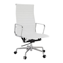 Ribbed High Back Office Chair in White Genuine Leather