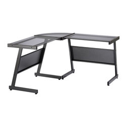 Eurø Style - Luigi L-Shaped Desk in Graphite Black - Beautiful and durable, this Luigi L-Shaped Desk will be a nice addition to contemporary style home/office. Available in 2 finishes, black and white, this desk features heavy powder epoxy coated steel frame, tempered glass top and adjustable feet.