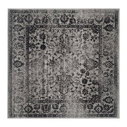 Safavieh - Harrison Rug, Grey / Black 6' X 6' - Construction Method: Power Loomed. Country of Origin: Turkey. Care Instructions: Vacuum Regularly To Prevent Dust And Crumbs From Settling Into The Roots Of The Fibers. Avoid Direct And Continuous Exposure To Sunlight. Use Rug Protectors Under The Legs Of Heavy Furniture To Avoid Flattening Piles. Do Not Pull Loose Ends; Clip Them With Scissors To Remove. Turn Carpet Occasionally To Equalize Wear. Remove Spills Immediately. Inspired by global travel and the bold, colorful motifs adorning fashionable ski chalets, Safavieh translates rustic lodge style into the supremely chic and easy-care Adirondack collection. Crafted of enhanced polypropylene yarns, Adirondack rugs explore stylish over-dye and antiqued looks, making striking fashion statements in any room. This collection is power loomed in Turkey.