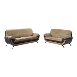 Global Furniture USA - U4160 Beige Fabric & Dark Brown Vinyl Three Piece Sofa Set - The U4160 sofa set will add a stylish modern look to any decor it's placed in. This sofa set comes upholstered in a beautiful beige champion fabric on the seating area. The fabric is very plush and soft to the touch. On the back and sides the sofa set is upholstered in a dark brown vinyl material. High density foam is placed within the cushions for added comfort. Each piece features a two-tone layered design that adds to the overall look. The price shown includes a sofa, loveseat, and chair only.