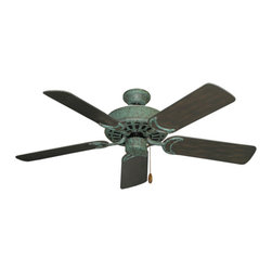 """Outdoor Ceiling Fans (Damp Rated) - The Dixie Belle Outdoor Tropical Ceiling Fan with 44"""" Traditional Blades is the ceiling fan that continues as the mainstay of the Gulf Coast Fans line-up. The popularity of this fan is attributed to good basic styling and a high performance motor for maximum air movement. The Dixie Belle Outdoor is offered in Oil Rubbed Bronze and Verge Green."""