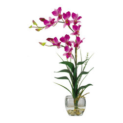 Nearly Natural - Nearly Natural Dendrobium w/Glass Vase Silk Flower Arrangement in Purple - Arching gracefully over natural stems and lifelike leaves, our Dendrobrium arrangement would be an elegant addition to any home or office decor. The whimsical orchid blooms skip along twining stems and create a gentle, refined design statement. A liquid illusion-filled glass vase perfectly finishes this beautiful arrangement.