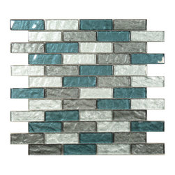 "Euro Glass - Impression Rushing River  1"" x 3"" Grey Kitchen Glossy Glass - Sheet size:  11 5/8"" x 11 5/8""        Tile Size:  7/8"" x 2 3/4""        Tiles per sheet:  48        Tile thickness:  1/4""        Grout Joints:  1/8""        Sheet Mount:  Mesh Backed        Sold by the sheet        -"