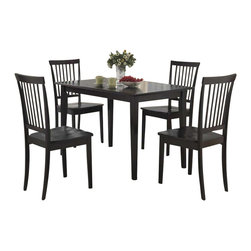 Coaster - Coaster 5 Piece Dining Set in Cappuccino - Coaster - Dining Sets - 150152 - The Oakdale collection offers a quick style update for any home. This dining group has a classic style that will blend easily with any decor in a deep Cappuccino finish or two tone dark and cherry finish. Clean lines and simple style creates a timeless look that you will love give you the warm and inviting casual dining room you have always wanted.
