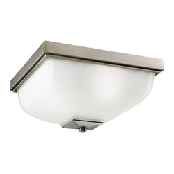 Kichler 2-Light Outdoor Fixture - Antique Pewter Exterior - Two Light Outdoor Fixture. The square shape of this flush mount ceiling fixture adds a fresh design to your home. Antique pewter finish with satin-etched glass. 2-light 100-w max diameter 13, height 7.