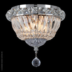Worldwide Lighting Empire Flush Mount W33008C8 - Worldwide Lighting Empire Collection 3 light Chrome Finish and Clear Crystal Flush Mount Ceiling Light