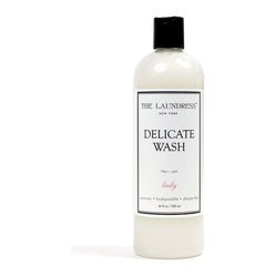 The Laundress Delicate Wash - 16 oz - Silk and silk blends, dainty fine cottons and laces, rayon and nylon - these fabrics are difficult to care for, especially when they take the form of delicate luxury goods.  End your worries about cleaning fine household linens and delicate garments with a bottle of Delicates Wash, a hypoallergenic and biodegradable liquid detergent option that removes skin and food oils as well as stains.  Delicates Wash can be used for either machine-cleaning or hand-washing of your precious fabrics.