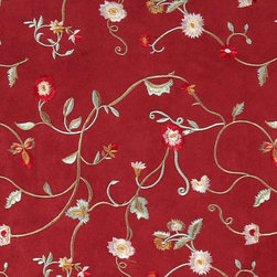 Red Green And Ivory Embroidered Floral Vines Suede Upholstery Fabric By The Yard - P4021 is a heavy duty upholstery grade suede polyester fabric. This fabric is great for all indoor applications.