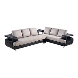 Global Furniture - Global Furniture USA 7208 2-Piece Sectional Living Room Set in Black and Grey - Detail and style is what sets this piece apart. With dramatic curves, large T cushion and back pillow this chair upholstered in gray fabric with black leather look material and thick silver feet is not only comfortable and trendy but offers plenty of space for relaxation after a long day.
