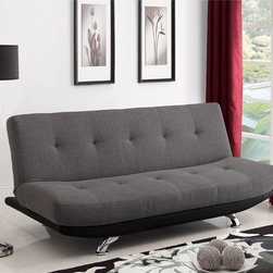 Dorel Home Products - DHP Skyline Futon Sofa Bed - Bring a modern look to your living space with the DHP Skyline futon. Its two-tone upholstery in gray,twill fabric and a black faux-leather base will compliment any room decor as well as give you additional sleeping options for guests.