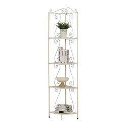 Monarch Specialties - Monarch Specialties 2101 Corner Display Etagere in White Metal - This elegant corner display etagere offers a distinctive storage solution for any room in your home. Great for tight spaces because it fits right into the corner of your room. Featuring a scroll motif in a white metal finish provides four shelves that offer an abundance of storage space for picture frames, plants, candles and any other collectibles.