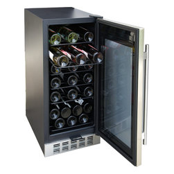 """SPT - SPT 32-Bottles Under-Counter Wine & Beverage Cooler - This built-in wine cooler stores up to 32 standard wine bottles. Elegant stainless steel trimmed and dual paned glass door adds sophistication to any kitchen or bar setting. Digital panel with adjustable temperature between 39°F to 68°F. Front ventilation allows flush built-in application and the 15"""" width is perfect for replacing that old trash compactor."""