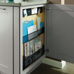 Diamond Base Message Center Cabinet - Diamond Cabinets Base Message Center wins an ADEX Platinum Award! The Base Message Center is a place to unload clutter and organize behind closed doors. It includes magazine and mail holders and a bulletin board.