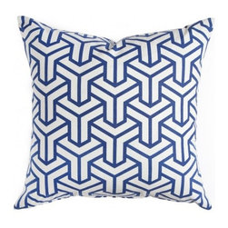 Cobalt Hong Kong Pillow - Caitlin Wilson's new textile collection is not to be missed. This graphic throw pillow would be an instant update for any interior.