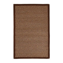 Anji Mountain AMB0026 Odyssey Bamboo Rug - Dark Brown / Tan - The Anji Mountain AMB0026 Odyssey Bamboo Rug - Dark Brown / Tan makes a welcome addition to living spaces, offices, and hallways. Made of 100% bamboo with an eco-soy backing, this durable area rug features warm shades of brown, ivory, and beige that combine into an alluring geometric pattern.About Anji Mountain Bamboo Rug Co.Anji Mountain Bamboo rugs and office chair mats are ecologically friendly. Bamboo has a robust root system that generates multiple new shoots for every mature stalk that is harvested. Unlike hardwood that can take decades to grow to a mature height ready for harvest, bamboo grows 8-12 feet a year! When you purchase a rug or office mat from Anji Mountain Bamboo Rug Co., you help support the ecologically responsible practice of regulating sustainable bamboo forests instead of clear-cutting old-growth hardwood forests.The dense, durable bamboo that Anji Mountain Bamboo Rug Co. uses is carbonized and kiln dried to remove moisture, which helps prevent cracking and warping. Because of this process, their bamboo rugs and office chair mats are ready to withstand the dry heat of your home or office in the wintertime or the arid climate of those living in the desert and mountains.