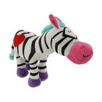 Happy House Zebra Plush Baby Toy - This adorable zebra is sure to make your child smile! It is 100% polyester, including the stuffing inside, and measures 6 inches tall, 8 inches wide. This plush toy is recommended for all ages, and is machine washable in cold water.