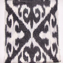 """Upholstery fabric by the yard - 50% silk/ 50% cotton ikat fabric. Handwoven on handlooms. Natural dyes. 15"""" wide. Woven in Uzbekistan. Repeat: 15.5"""" h x 19"""" v.Priced by the linear yard. Order full yards only."""