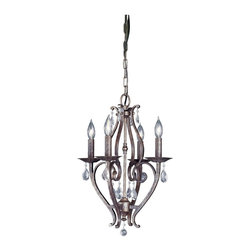 Murray Feiss - Murray Feiss Mademoiselle Traditional Mini Chandelier X-RBP4/0081F - Simple but chic, this Murray Feiss mini chandelier or chandelette will compliment a number of spaces including bathrooms, breakfast nooks or even a walk-in closet! From the Mademoiselle Collection, it features a stylish Peruvian Bronze finish that highlights the elegant scrolling lines and curves. Four candelabra style lights and crystal accents complete the look.