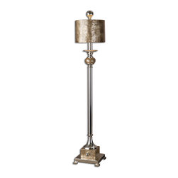 Uttermost - Uttermost Pearl Silver Buffet Lamp 29872-1 - This lamp is silver plated metal with roasted, Mother of Pearl accents and a matching round shade.
