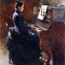"""Theodore Robinson Girl at Piano - 16"""" x 20"""" Premium Archival Print - 16"""" x 20"""" Theodore Robinson Girl at Piano premium archival print reproduced to meet museum quality standards. Our museum quality archival prints are produced using high-precision print technology for a more accurate reproduction printed on high quality, heavyweight matte presentation paper with fade-resistant, archival inks. Our progressive business model allows us to offer works of art to you at the best wholesale pricing, significantly less than art gallery prices, affordable to all. This line of artwork is produced with extra white border space (if you choose to have it framed, for your framer to work with to frame properly or utilize a larger mat and/or frame).  We present a comprehensive collection of exceptional art reproductions byTheodore Robinson."""