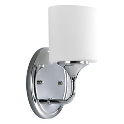 Progress Lighting - Progress Lighting P2801-15 Lynzie Single-Light Bathroom Sconce with Etched White - 1-Light Bath with etched white oval shaped glass shades held by delicate classic Chrome finished arms. A cousin to the Chloe collection, similarly uncluttered and simple lines depict the gracefulness of this bath collection.Features: