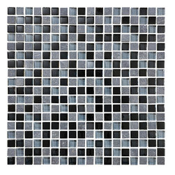 Bliss Black Timber Stone and Glass Square Mosaic Tiles, 10 Square Feet - A nice neutral mix of black and two shades of grey come together in this delightful blend of 5/8 x 5/8 glass and stone squares. Black Timber is also available in a random strip linear mosaic tile.