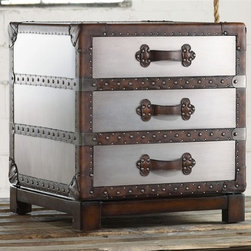 Hooker Furniture - Melange Bondurant Accent Chest - Three drawers. Leather strap pulls. Nail head trim. Silver leaf. Made from hardwood solids and leather. Faux zinc finish. 22 in. W x 22 in. D x 24 in. HCome closer to Melange, and you will discover something unexpected, something far more than an accent furniture collection offering a multitude of finishes. An eclectic blending of colors, textures and materials in a vibrant collection of one-of-a-kind artistic pieces, Melange is meant to inspire you and fuel an experience of self-discovery. Melange can provide that spark needed to begin the transformation of a room and a renaissance in your life. Each piece of Melange has its own story. The designs are versatile and timeless, easily transcending from one life stage to the next, from home to home and generation to generation.