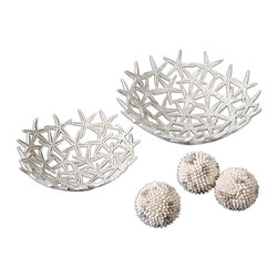 "Uttermost - Starfish Decorative Bowls with Spheres Set of 5 - Delightful, starfish design bowls with three spheres made of real seashells. Bowl sizes: sm-11x4x11, lg-13x5x13. Spheres:4""rd"